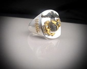 USMC United States Marine Corps  Bespoke Silver Ring