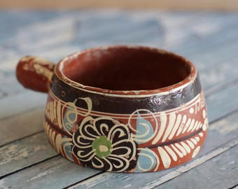 Vintage Mexican Pottery Terracotta Painted Pot or Planter