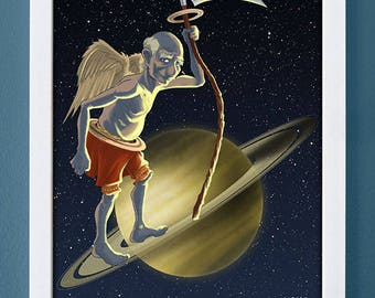 Saturn, art print, planet art, science art, children's art, roman gods, 4X6, 5X7, 8X10