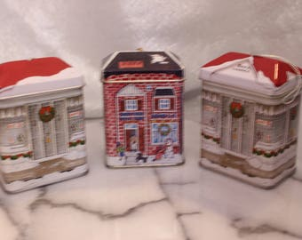 Vintage Set of Three Decorative Tin ornaments, House tin Sees Candy School House
