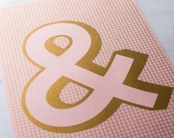 Art print in gold - A3 Ampersand Graphic Design Print - Metallic Gold Ink on Pink Paper - Modernist / Minimalist Typographic Art Print