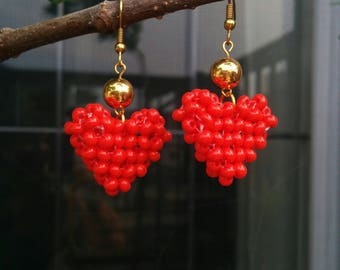 Beaded Red Valentine Hearts