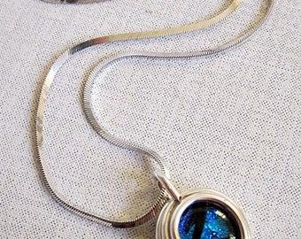 Dichroic Glass Pendant, Blue Dichroic Pendant, Dichroic Pendant, Blue Dichroic Necklace, Metallic Blue Pendant, Sterling with Dichroic Glass