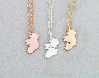 SALE • Ireland Necklace • Irish Jewelry • Europe Jewelry •Irish Pendant •Hometown •Personalized Engraving • Travel Gift •Country Gift
