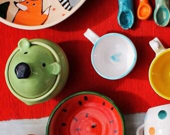 Jar With Polar Bear - Ceramic Bear - Honey Pot - Sugar Bowl - Colorful Pottery Jar - Cute Bear - Cookie Jar - Polar Bear - Ceramic Jar
