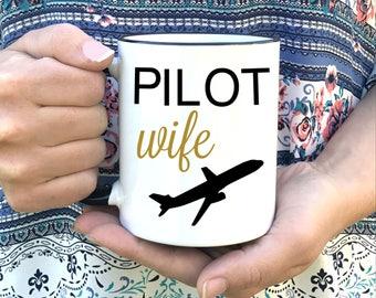 Pilot wife mug - Ceramic Coffee Mug - Pilot Wife Gift - Airman Wife - Airline pilot wife - Navy Pilot Wife - Flight Wife Coffee Cup