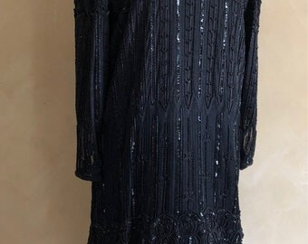 Vintage Black Dress  Hand Beaded & Sequined Flapper Style