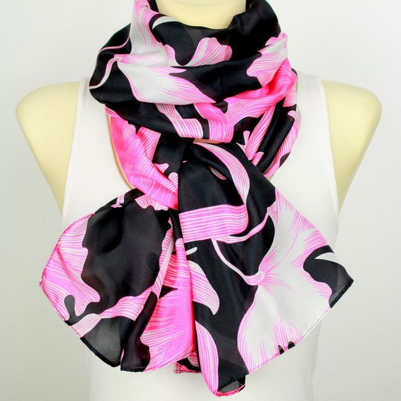 Pink Black Floral Silk Scarf Printed Infinity Silk Scarf Unique Boho Scarf Fashion Accessories Gift for her Summer Outdoors Summer Party