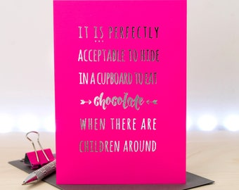 Mom Card; Funny Card For Mums; Silver Foil Card; Pink Card; Card For Mothers; GC656