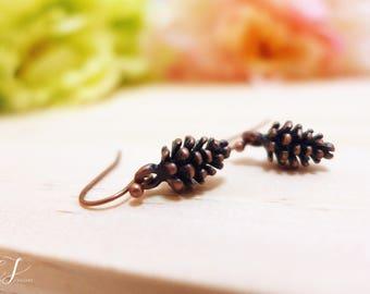 Tiny Pinecone Earrings, Small Pine Cone Earrings, Dainty Earrings, Minimalist Earrings, Simple Earrings, Woodland Jewelry, Forest Jewelry