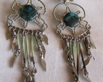 Silvertone and Turquoise Dangle Wire Wrap Earrings