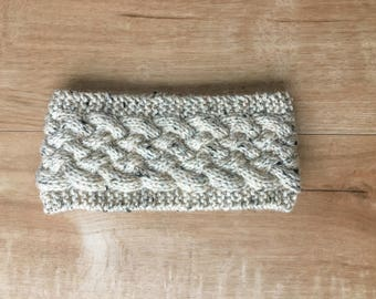 Tweed Beige Cabled Knit Winter Ear Band / Headband