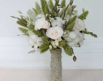 Preserved and Dried bridal bouquet,  sage green, cotton,  ivory roses, neutral colors,  wedding flowers, meadow green, gray, bridesmaids