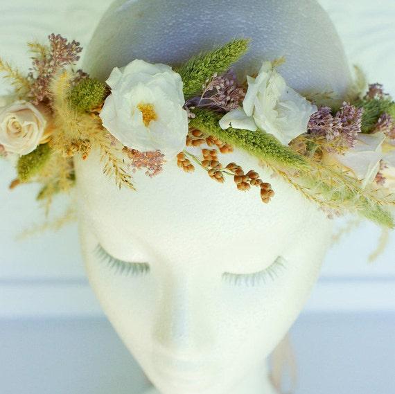 Dried and preserved flower halo, flower crown, fall flowers, hair flowers, wedding flowers, rustic wedding, boho bride, garden, flower girl