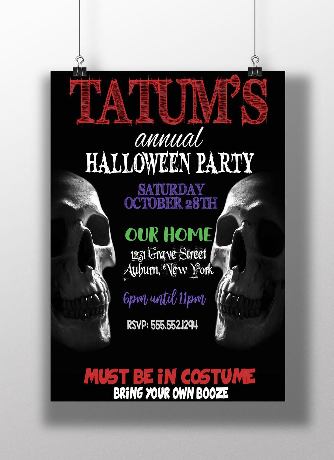 Scary halloween invitations, scary party invites, skull invitations ...