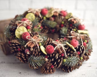 Christmas wreath cones cinnamon, Front door decoration, Home Decor, Rustic Wreath, Farmhouse Wreath, Natural wreath, Winter Wreath