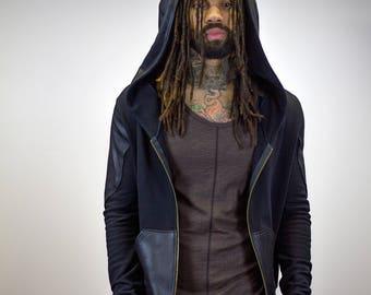 Zip-Up Doomlord Hooded Sweatshirt / Faux Leather Detail, Men's