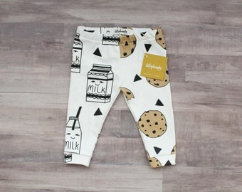 Baby Leggings / Modern Baby / Funny Baby Gift / Cookie Leggings / Gender Neutral Gift / New Baby Gift / Baby Shower Gift / Milk and Cookies