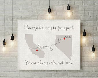 Grandparent Gift | Moving Gift | Grandparents Art | Miles Apart But Close At Heart | Damask | Map Art Print  - 53577