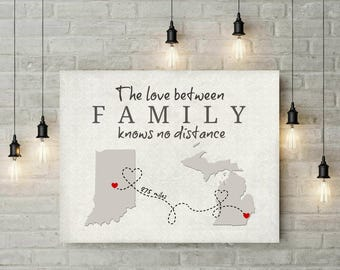 Family Long Distance Map | Two States | Damask Art Print | Christmas | Birthday | Thanksgiving | Gift For Mom | Grandma | Godmother - 68877