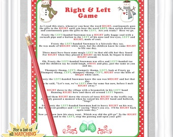 """Winter """"Right & Left"""" story/game in reds and greens, Instant Download Baby or Bridal shower game,  hilarious party/family game, Christmas"""