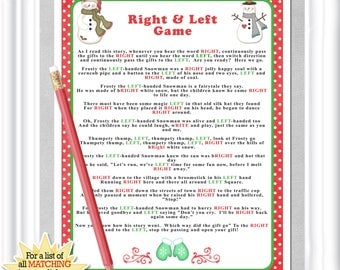 """Instant Download Winter """"Right & Left"""" story/game in reds and greens, Baby or Bridal shower game,  hilarious party/family game, Christmas"""