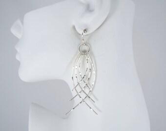 Sterling Silver Long Dangle Earrings, Drop Earrings, Sterling Silver, 925 Mexico, Sterling Silver Hooks