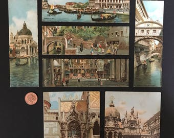 Set of 6 Postcard Bookmarks and 2 Postcards Venice, Italy c.1910