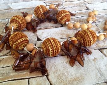 Bohemia crochet necklace/ Organic crochet necklace/ Fiber necklace/ Bead crochet necklace/ Brown Crochet Necklace/ Eco Necklace Crochet