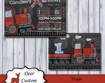 Train Birthday Invitation | Trains Chalkboard Birthday Invite | Chalkboard Farm Party | Choo Choo Birthday Party | Train Birthday Invite