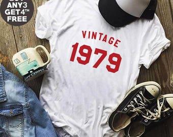 Vintage Shirt 39th Tshirt Birthday Gifts Shirt 1979 Birthday Tshirt Graphic Women Tshirt Hipster Shirt Birthday Funny Shirt Men Tee Women