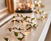 Green leaf fairy lights, wedding lights, Spring garland, Battery lights, autumn decorations, rustic wedding decorations, woodland theme