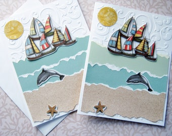 Sailboat note cards, Thank you note, Just a note, blank cards, handmade, paper pieced, embossed note cards, Summer, Beach theme, Set of 8