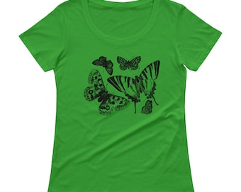 Butterflies Tshirt - Butterfly T Shirt - Womens T Shirt - Butterfly T Shirt - Butterfly Printed T shirt - Graphic Tee - Ladies Tee