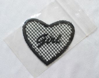 HEART PATCH -girl power, cute, gingham, vichy, clueless, 90s, lolita, aesthetics, backpack, jacket, feminism, feminist, vintage-