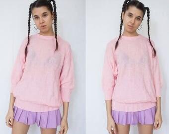 PINK KNIT SWEATER -pastel, cute, jumper, floral, fairy kei, kawaii, aesthetic, y2k, 90s, 3/4 sleeve-