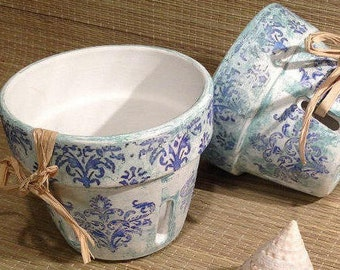 Blue Orchid Flower Pot, Faded Aqua Damask Planter Cache Pot, French Country Cottage Farmhouse Decor, Hostess,Wedding or Birthday Gift