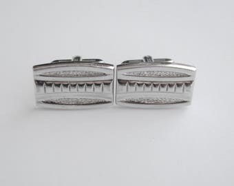 Mens Cufflinks, Silver Rectangular Cufflinks, Vintage Silver Cufflinks, Mens Shirt Cuff Links, Rectangular Cufflinks Mens Wedding Cufflinks