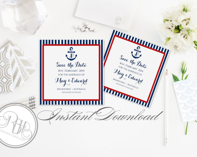 Nautical Wedding Save the Date Templates-INSTANT DOWNLOAD DIY Editable Text-Nautical Navy & Red Boat Anchor-Xena