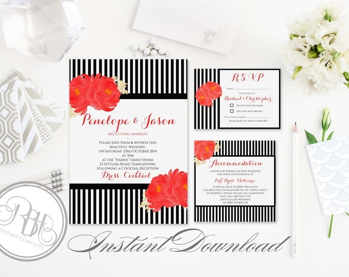 Black White Strip Red Peonies Invitation-Information Card-Reply Card-Templates-INSTANT DOWNLOAD-DIY Editable Text-Penelope Invite Package