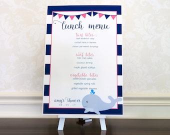 Printed Nautical Party Menu Sign. Whale Baby Shower Decoration. Pink Preppy Bridal Shower Menu Poster. Navy Stripe Brunch & Lunch Menu Sign