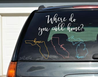 Home state car decal - car decal - vinyl decal - state - home decal