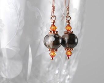 Brown Ceramic Beaded Earrings, Ceramic Dangle Earrings, Swarovski Crystal Earrings, Dark Brown and Orange Earrings, Copper Beaded Earrings