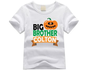 Personalized big brother shirt. Big brother pumpkin theme. Jack-o-lantern big brother shirt. Big brother announcement. Halloween big brother