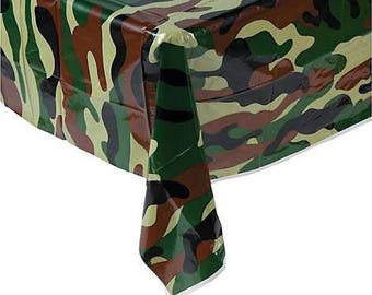 Camouflage Party Tablecloth / hunting theme/ camo theme/ Army
