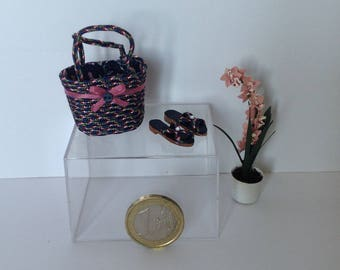 Miniature carrier bag and sandals