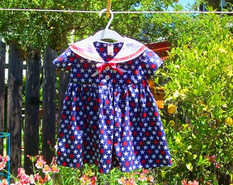 Star Print Sailor Dress, 12-18 M