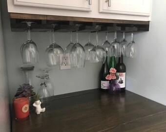 UNDER CABINET Mounted Rustic Wood Wine Rack   Hanging Stemware Glass Holder Organizer Bar Unique Cabinet Mounted