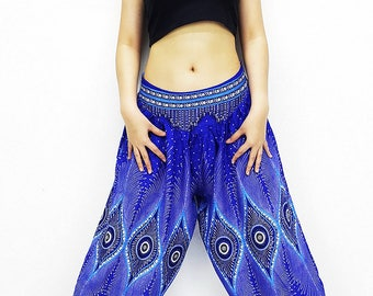 SRT@66 Women Harem Pants Yoga Pants Aladdin Pants Maxi Pants Boho Pants Gypsy Pants Rayon Pants Genie Pants Unique Trouser Royal Blue