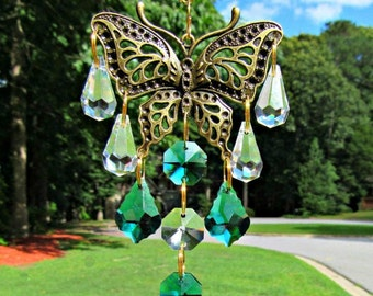 Peacock Green Crystal Butterfly Suncatcher, Asfour Crystal Ball, Butterfly Gift, Crystal Sun Catcher, Mirror Accent, Mirror Charm, SCB110